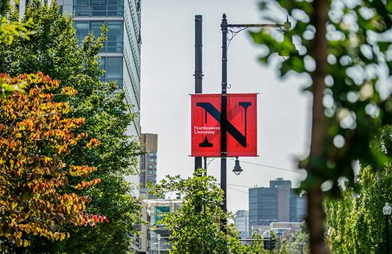 a Northeastern University banner on Huntington Avenue