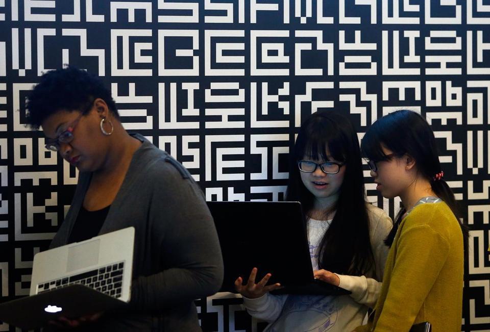 students work at the Codex Hackathon