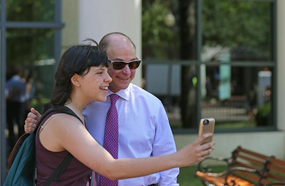 CCIS Freshman Vanessa Gregorchik snapped a selfie with Northeastern University president Joseph Aoun as he greeted students on the opening day of classes last week.
