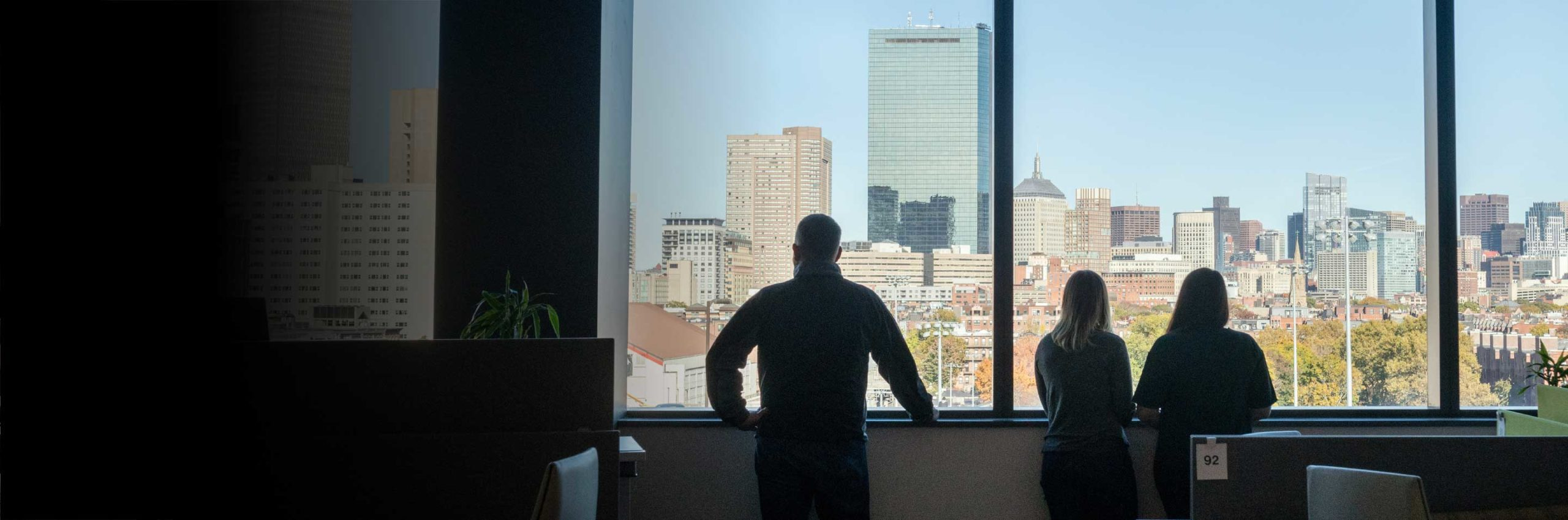 Students look at the skyline of Boston