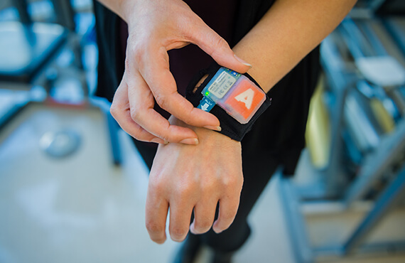 a person activates a personal health device