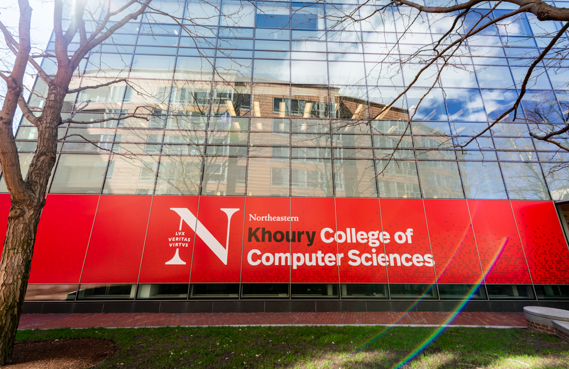 the Khoury College banner on Northeastern's Boston campus