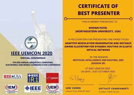a certificate awarding Kishan Patel as best presenter at IEEE UEMCON 2020