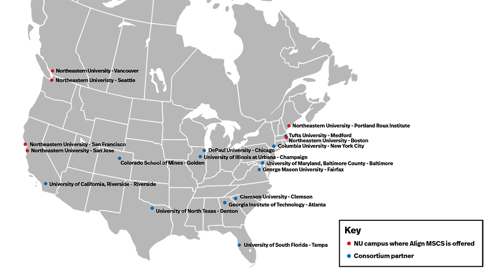 A map showing the locations of the MS Pathways to Computing Consortium partners