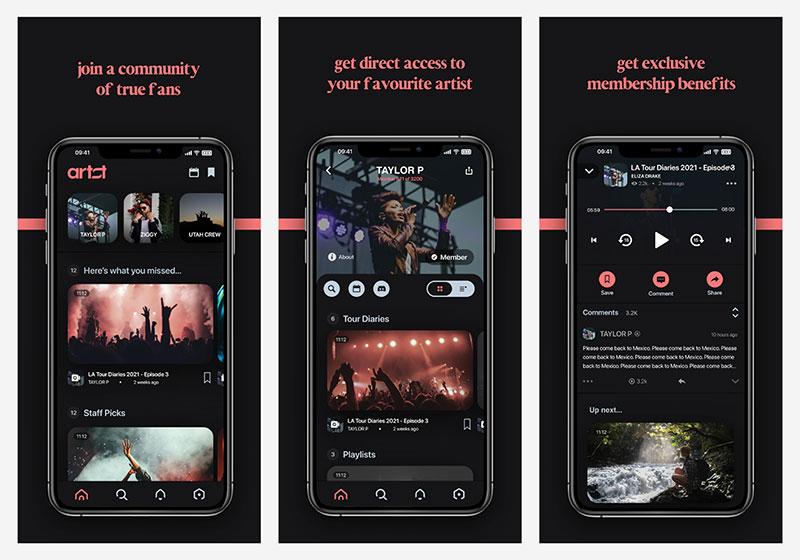 Screenshots (2021) of artst, membership platform for musical artists