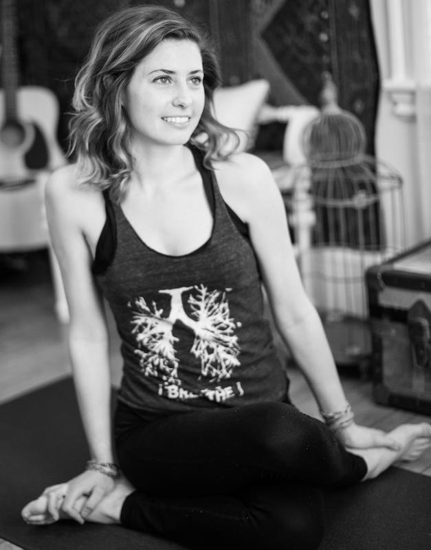 Amorette Farkas on a yoga mat