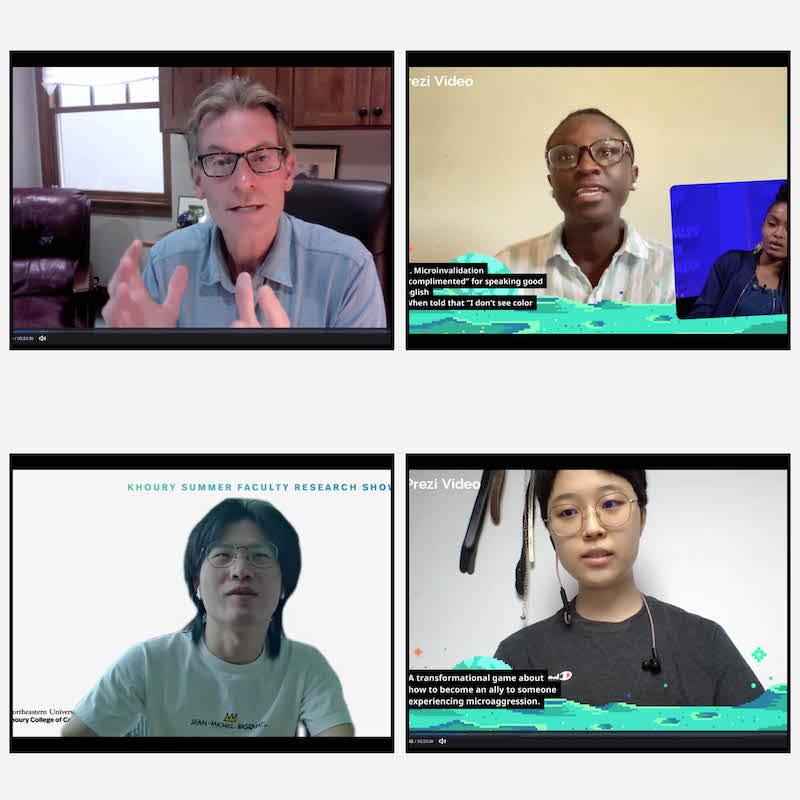 Screeenshots from the Summer Faculty Reseach Showcase. Top row (L to R): Greg Waters, Doxa Asibey. Bottom (L to R): Jinqian Pan, Xinyu Hou.
