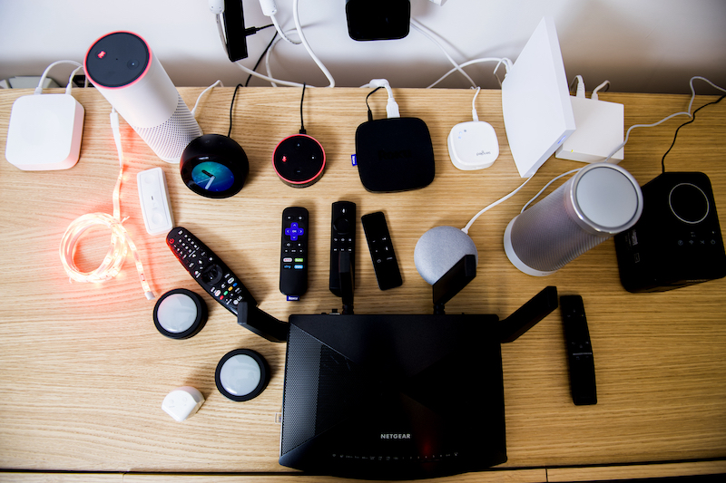 Smart devices on a table
